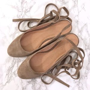 Madewell Suede April Ankle Wrap Flats 7.5